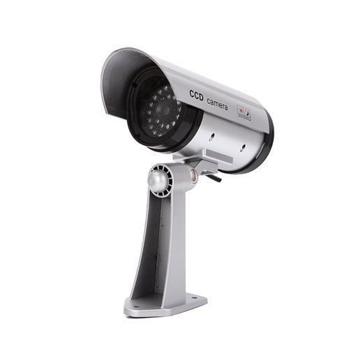 Cheap Outdoor Fake , Dummy Security Camera with Blinking Light Camera (Silver)