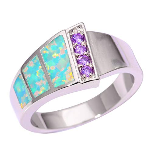 MARRLY.H Created Green Fire Opal Purple Zircon Silver Plated Sell for Women Jewelry Ring 7