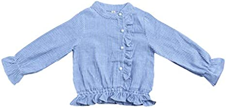 Childrens Clothing Girls Striped Long-Sleeved Shirt Korean Spring Autumn Tide