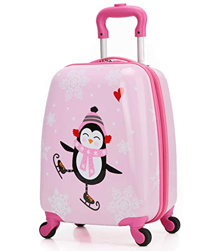 Price comparison product image Girls Suitcase Hardshell Spinner Wheels - Kids Luggage 18 inch Carry On Penguin Travel Trolley LeLeTian