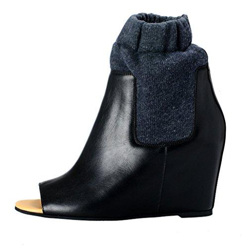Maison Margiela Mm6 Womens Lederen Open Teen Wiggen Laarzen Schoenen Zwart
