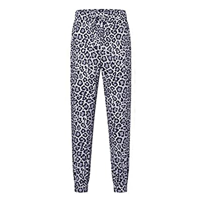 Sttech1 Women Drawstrings Jogger Sweatpants Loose Soft Stretch Pockets Pants Over Ankle Pant Leopard Printed Pants: Clothing