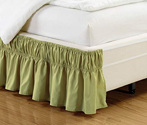 Black Friday & Cyber Monday Deals ! Ruffled Wrap Around Bed Skirt-16 Inches Drop Easy Fit King Size Sage Solid (Available for All Bed Sizes and Colors)
