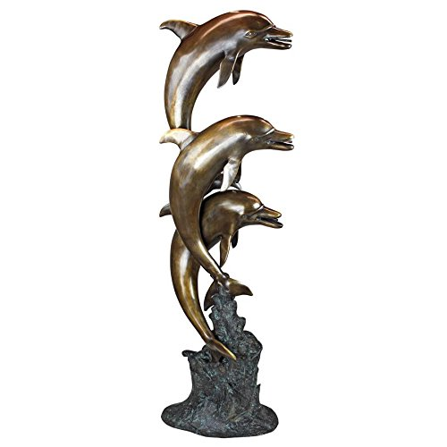 Design Toscano Leaping Dolphins Cast Bronze Garden Statue For Sale