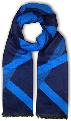 Bleu Nero Luxurious Winter Scarf for Men and Women – Large Selection of Unique Design Scarves – Super Soft Premium Cashmere Feel Navy Blue Crisscross stripes
