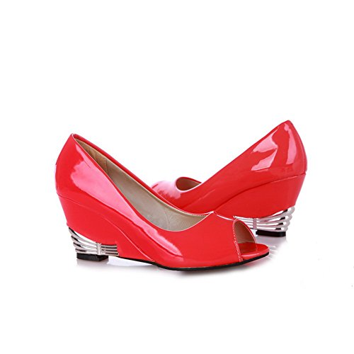VogueZone009 Womens Open Peep Toes Mid Heel Wedge Patent Leather PU Solid Pumps with Metalornament, Red, 6.5 B(M) (Red Patent Open Toe Pumps)