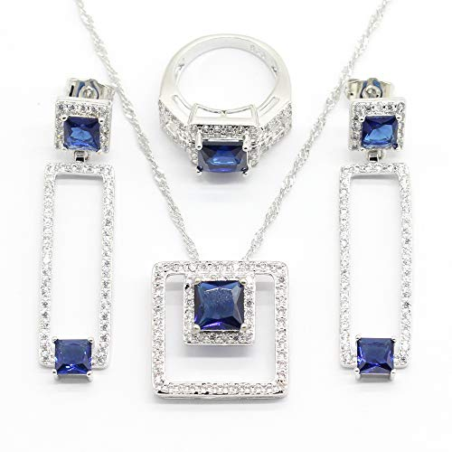 Aixili Royal Blue Jewelry Sets for Women Silver White Gold Plated Necklace Pendant Earrings Ring Bridal Wedding Jewelry (9)