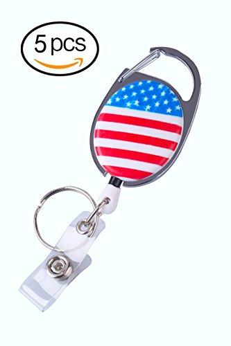5 Pack Retractable Badge Holder Carabiner Reel Clip Belt Clip Key Ring