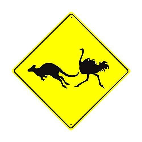 Sign Kangaroo Road (Shirllyn New Quality Metal Road Sign Kangaroo Ostrich Crossing Xing Graphic Wildlife Animal Caution Safety Crossing Funny Yellow Diamond Tin Sign Home Decor 12x12 Inches)