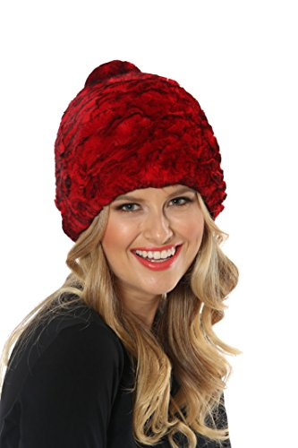 Madison Avenue Mall Red Stretch Knitted Rex Rabbit Fur Skull Hat - Pom Pom by Madison Avenue Mall