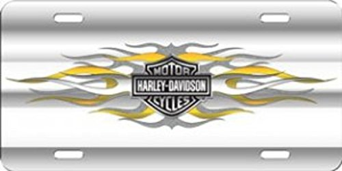 Harley-Davidson Bar And Shield With Flames Laser License Plate