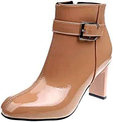 45f72db60 Goldencar Autumn and Winter New Thick with high Heel Women's Shoes Belt  Buckle Low Boots Martin