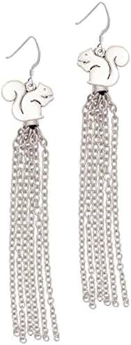 Squirrel Chain Tassel French Earrings