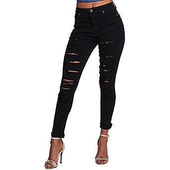 SCO New Womens Stretch Extreme Ripped Skinny Jeans Denim: Amazon ...