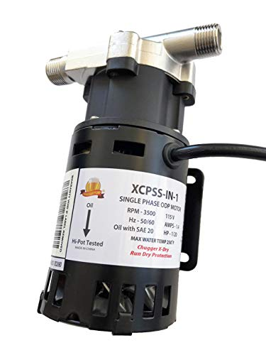 CHUGGER PUMP XCPSS-IN-1 X-DRY with Run Dry Protection, SS 115 Volt Inline Home Brewing System Beer Pump, 55
