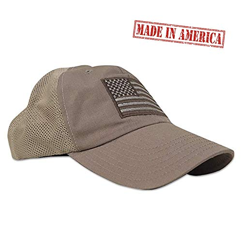 Red White Blue Apparel American Flag Range Day Shooters Hat, Mesh Back, Coyote