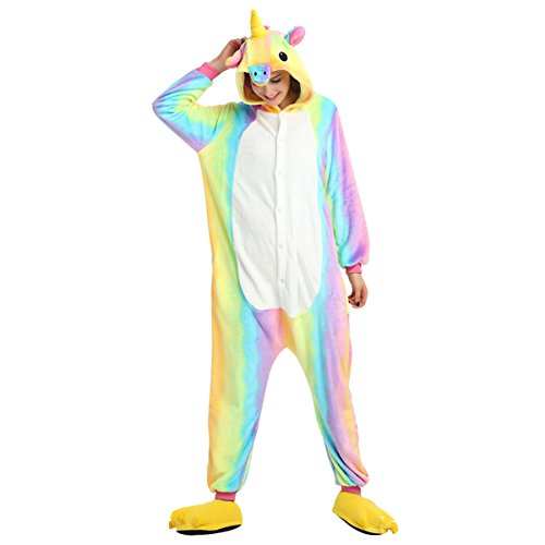 Colorato Animale Onesie Unicorno Casa per Evento Pigiama partito e Halloween costumi Dress Bambini Costume Adulti Adulto Kigurumi Cosplay Anime Unicorno Adulti Unisex vww1zA5q