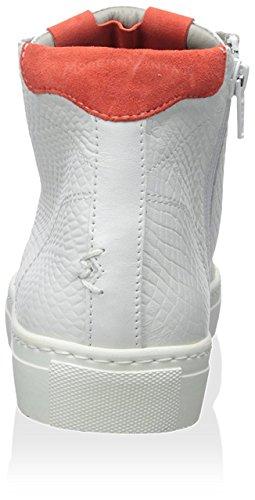 Moderne Vintage Dames Gladys Sleehak Sneaker Wit / Lichtrood