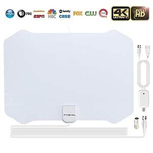 Antenas de Television Digital 4K 1080P DVB-T Antena tv Interior 80+ millas Distancia con 4M Cable de Antena-Nunca Pague Tarifas.