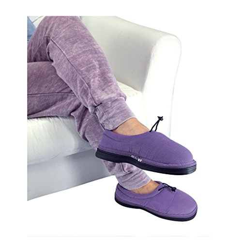 Nature Creation- Thermo Shoes Warm Up Slippers- Microwave Heated Foot Warmers- Hot & Cold Therapy (Purple Medium)