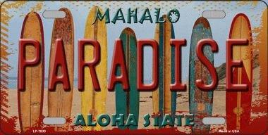 - Smart Blonde LP-7833 Paradise Surfboards Hawaii State Background Novelty Metal License Plate