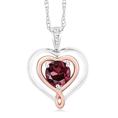 Rhodolite Family Pendant (925 Sterling Silver & 10K Rose Gold Heart Shape Pendant Rhodolite Garnet with Diamond Accent)