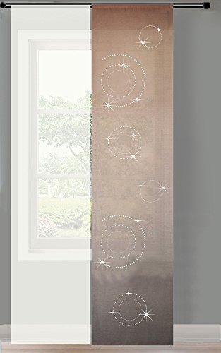 2er Set Schiebegardine Flächenvorhang Strass blickdicht und Voile Paneel transparent, 245x60, Sand Circle, 856250