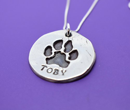 Actual Paw print necklace, Silver, Pet memorial Necklace - Dog Paw - Cat nose print - hand print - Necklace - Jewelry - Hand cast from image