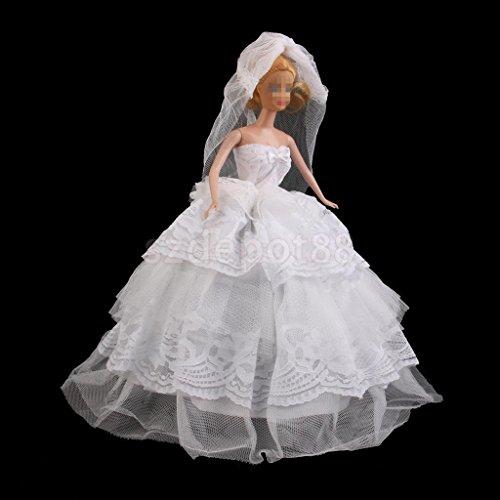 Princess Evening Wedding Party Dress & Veil Clothes Outfit by uptogethertek