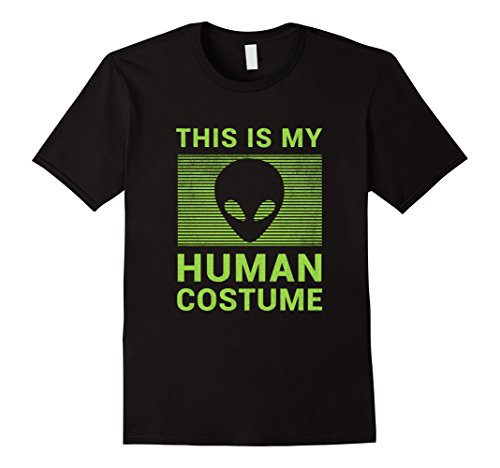 Easy Diy Halloween Costumes For College (Mens Funny Alien Halloween Shirt Easy Costume for Women Men Boys 2XL Black)