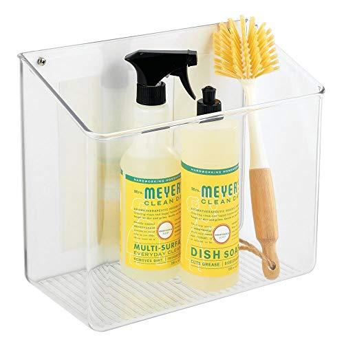 mDesign Wall or Adhesive Mount Plastic Home Storage Organizer Basket – Hanging Bin for Walls/Doors in Entryway, Mudroom…