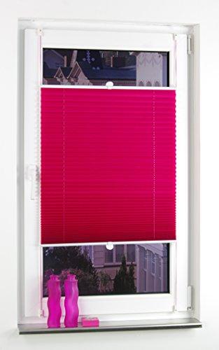 Liedeco® Plissee verspannt mit Klemmträger / 60 x 150 cm red magnolia (rot) (Breite x Höhe) / lichtdurchlässig blickdicht und stufenlos verstellbar / leichte Innen-Montage ohne Bohren / 123 montiert / Plissee farbig zum Klemmen fürs Fenster in vielen Farben und Größen / Klemmfix-Plissee als Sichtschutz Blendschutz Sonnenschutz und Fensterdekoration innen / Rollos Falt-Plissee Jalousien Zubehör von Liedeco