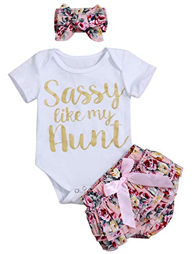 Newborn Baby Girl Summer Clothes Letters Print Romper + Ruffle Floral Shorts Bow-Knot Bodysuit Headband Outfits 3-6Months
