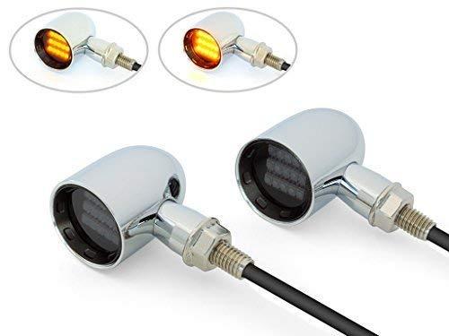 PAIR Chrome with Black Bezels CNC Aluminium Mini LED Motorbike Indicators