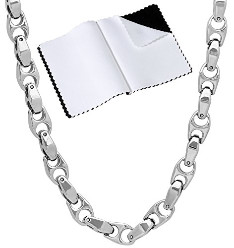 - Men's 6mm Durable Tungsten Smoothly Angled Puffed Mariner Link Chain Necklace, 24