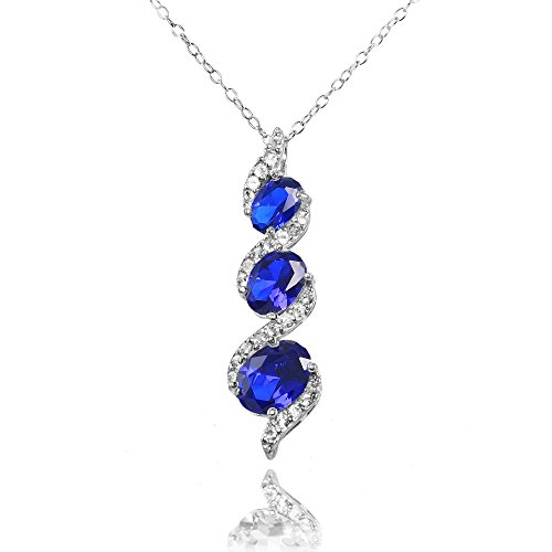 (Ice Gems Sterling Silver Created Blue Sapphire and White Topaz Oval S Design Three-Stone Journey Necklace)