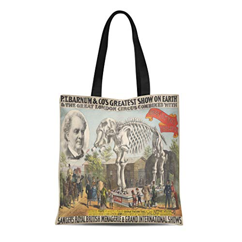 - Semtomn Canvas Tote Bag Shoulder Bags P Barnum Co Greatest Show on Earth 1888 Great Women's Handle Shoulder Tote Shopper Handbag
