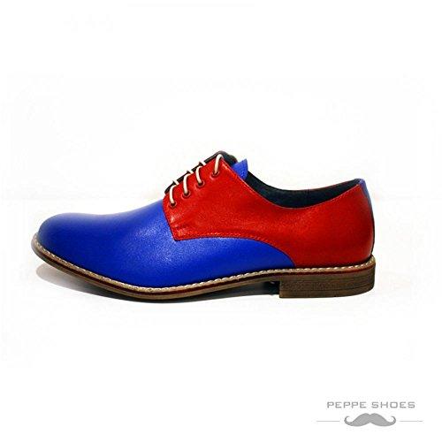 Weiches Rindsleder Herren Abendschuhe Modello Oxfords Leder Ascoli Italienisch Handgemachtes Schnüren Blau 8RRFzq7P