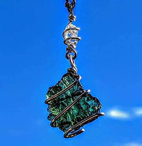 MOLDAVITE & Herkimer Diamond Necklace Wire Wrap 925 Silver! 19