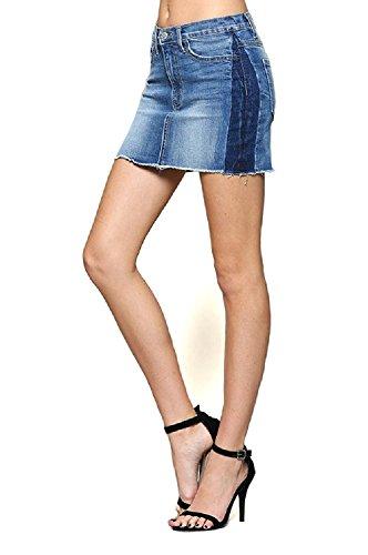 Flying Monkey Premium Mid Rise Tuxedo Accent Denim Mini Skirt with Unfinished Hem (7/27)