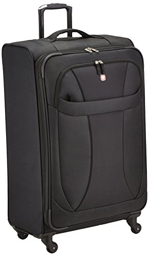 SwissGear Lightweight Spinner Luggage Collection Black 24'' Spinner by SwissGear