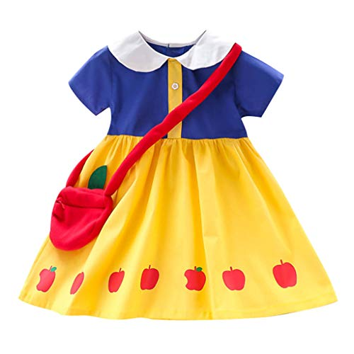 - SIN vimklo Baby Dresses Girls Clothes Short Sleeve Doll Collar Apple Print Princess Dress+Bag 2-7Y Yellow