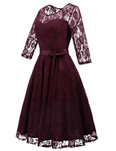 Encaje 4 Mujer Honor 3 Línea De Dressystar Dama Una Manga Vestido Burgundy Verano Elegante para qCtxw5