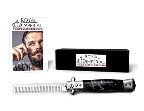Royal Imperial Metal Switchblade Pocket Folding Flick Hair Comb For Beard, Mustache, Head Black Pearl Handle ~ INCLUDES Beard Fact Wallet Book ~ Nicer Than Butterfly Knife Trainer (Switchblade Comb)