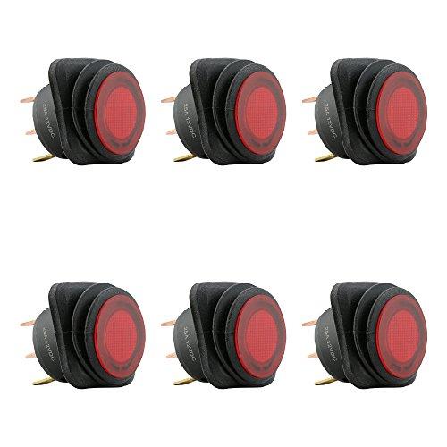 6pc 12V DC 25 Amp On/Off Rocker Switch IP65 Waterproof 3P SPST Red LED Indicator ()