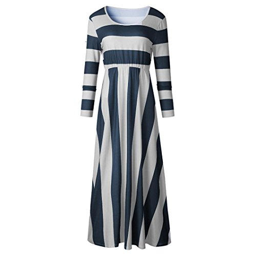 Clearance!GREFER Hot Sale Women Long Sleeve Striped Maxi Dress Evening Party Long -