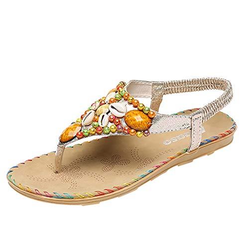 Women's Herringbone Sandals, Sharemen Flat Comfort Sandals Beaded Roman Anti-Slip Belt Shoes(Silver,US: - Formal Shirt Herringbone