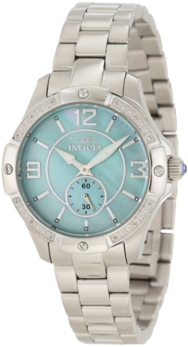 Invicta Women's 10221 Angel Diamond Accented Light Green Mother-Of-Pearl Dial Stainless Steel Watch - Blue Pearl Quartz