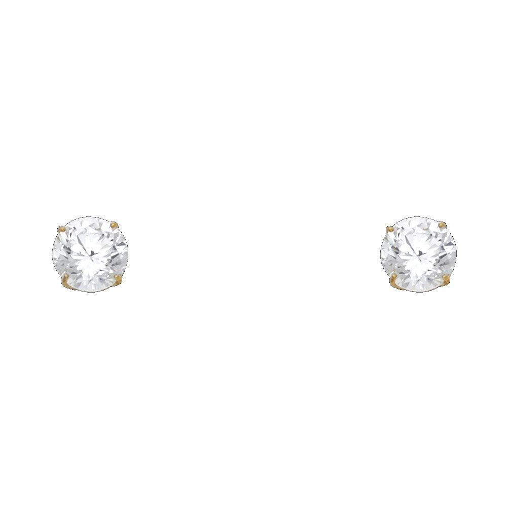 7 Differnet Size Available 14k Yellow Gold Round Solitaire Basket Set Stud Earrings with Silicone Back