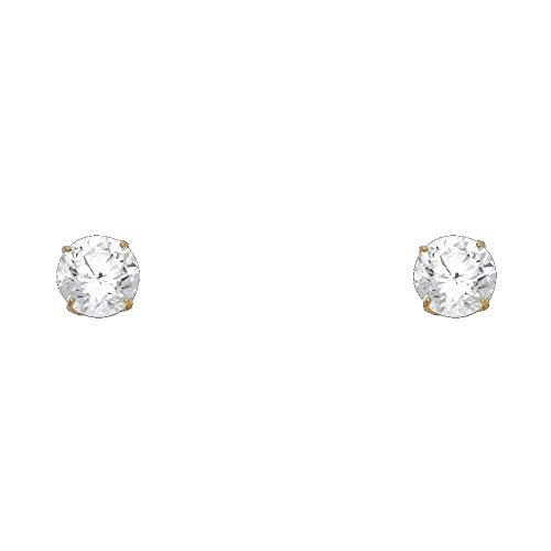 Wellingsale 14K Yellow Gold Polished 6mm Round Solitaire Basket Style Prong Set Stud Earrings With Silicone Back